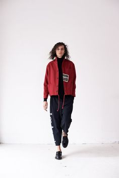Wool French Workwear Coat - Red