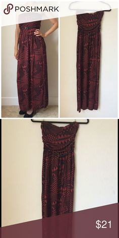 """Sale🎉Maxi Tribal strapless dress New Maxi Tribal strapless dress with belt. 100% rayon. Color: red brick and black.  Medium is available, it has elastic at the bust and waist. Length approx is 49"""".                             MEDIUM : The dimensions are as follows: bust: 14.5"""" unatretched, up to 18"""" stretched, Waist: 13.5"""" unstretched and up to 16"""" stretched, Length from bust to hem: 49"""". Dresses Maxi"""