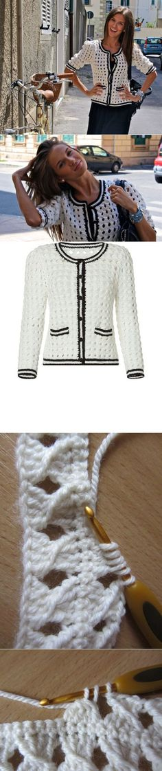 ru Tutorial for Crochet, Knitting. Gilet Crochet, Crochet Coat, Crochet Jacket, Crochet Cardigan, Crochet Clothes, Crochet Stitches Patterns, Crochet Designs, Mode Crochet, Crochet Fashion