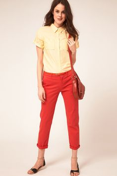 Oxford shirt plus colored cropped jeans. I think this could be either really preppy or really cool depending on color and shoes.