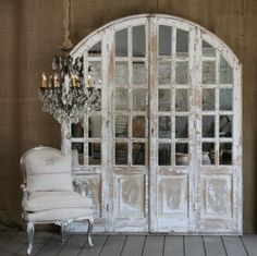 Vintage mirrored ached door