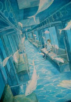 The color scheme and surrealistic quality caught my eye first, but still a great illustration of one-point perspective, albeit slanted (so there are no true verticals or horizontals). Japon Illustration, Perspective Drawing, 1 Point Perspective, Poses References, Anime Scenery, Surreal Art, Aesthetic Art, Art Inspo, Amazing Art