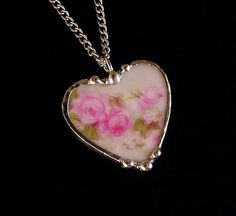 Broken China Jewelry Heart Pendant necklace French roses porcelain antique china