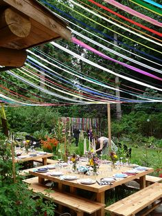 Seattle Farm Tables - the original party, plus a Ribbon Canopy!!!
