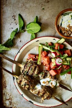 Turkey Keftas And Watermelon Salad Confort Food, Watermelon Salad, Meat Chickens, Middle Eastern Recipes, Bbq Grill, Barbecue, Kitchen Recipes, Popular Recipes, Bon Appetit