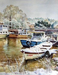 Ömer Muz uploaded by on We Heart It Rivage, Pics Art, Boat Painting, Seascape Paintings, Watercolor Cards, Water Crafts, Rio, Artist Art, Find Image