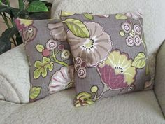Purple Floral Throw Pillow Cover