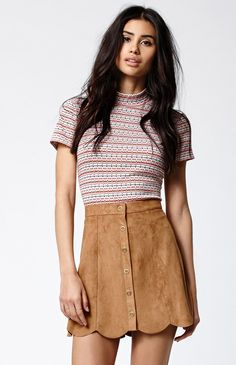 Kendall + Kylie for PacSun Faux Suede Scallop Hem Skirt