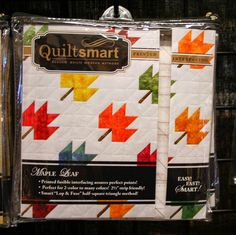 """Using Quiltsmart's BearLeaf interfacing, you will glide through making Maple Leaf blocks! Just place and fuse 2.5"""" squares on the marked sections of interfacing, stitch on the lines, and press open. When you sew the seams on the solid lines printed on the interfacing, you will get beautiful points, without ever fussing with triangles! It's all squares! Easy, fast, and smart! #mapleleaf #quiltsmart #sewing #quilting #quilt #quilted #diy #handmade #craft #ideas #howto #quiltsmart #pattern"""