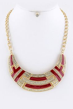 CRYSTALS COLOR BLOCK BIB NECKLACE EARRINGS SET (RED/GOLD TONE) - $20