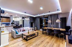 Dzięki oświetleniu ledowemu stworzymy we wnętrzu niepowtarzalny nastrój. Loft Interiors, Industrial Dining, Interior Design, Furniture, House, Small Spaces, Home, Interior, Home Decor