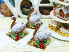 Gingerbread Swan - Individual Christmas Pastry - 12th Scale Miniature Food. $18.00, via Etsy.