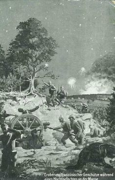 WWI, Marne, 1914; German soldiers capture a French gun.