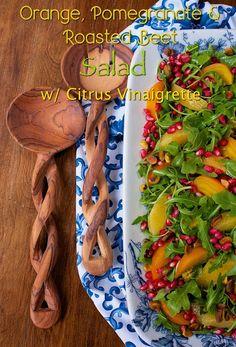 Orange, Pomegranate & Roasted Beet Salad - thecafesucrefarine.com