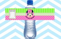 Water Bottle Labels Personalized Minnie Mouse GIRLS by PaperDazzle