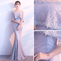 Chic / Beautiful Grey Evening Dresses 2018 Trumpet / Mermaid Lace Flower Off-The-Shoulder Backless Sleeves Floor-Length / Long Formal Dresses Grey Evening Dresses, Beautiful Prom Dresses, Pretty Dresses, Formal Dresses, Applique Wedding Dress, Applique Dress, Bridesmaid Dresses, Wedding Dresses, Gown Wedding