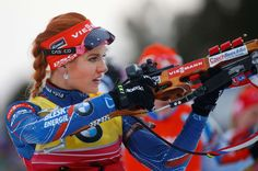 Gabriela Soukalova of Czech Republic shoots at the range in the women's 10 km pursuit at the IBU World Championships Biathlon at Khanty-Mansiysk, 2759 km north-east of Moscow, Russia, Saturday.