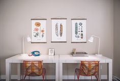 The Woods | Design gramercy homes, white rock bc, www.themill.ca vancouver, interior design, orange and turquoise accents, cb2, west elm, his and hers desks
