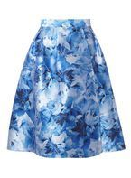 Womens **Luxe Blue Blurred Floral Hi-Low Skirt- Blue