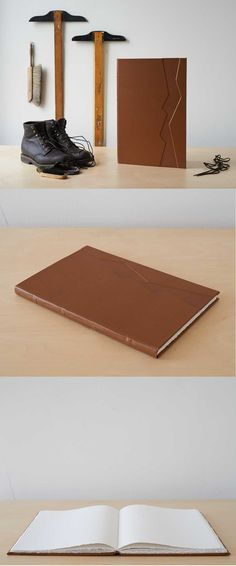 Over-sized leather-bound sketchbook by Sarah (whynoteight.wordpress.com), via Etsy
