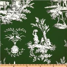 love this toile!  the kelly-ish green is totally unexpected