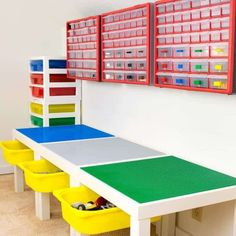 Need more Lego storage? This simple IKEA hack will add plenty of storage under the IKEA Lack table! Sort Lego pieces by color and shape with the overhead bins. What a great way to get some Lego organization in the kids playroom!