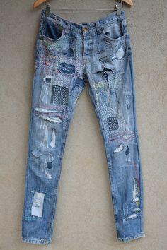 Vintage Jeans, Jean Vintage, Jean Rapiécé, Jean Diy, Blue Jeans, Jeans Bleu, Diy Jeans, Patched Jeans, Ripped Jeans