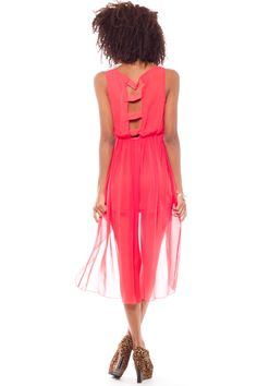 CORAL LADDER BACK HI-LOW DRESS $16.80 Foreign Exchange