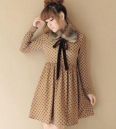 Vestido Bolinhas Manga Longa - Importado R$86.00