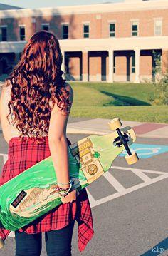 Maine senior photography, longboard, skateboard