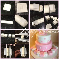 Cube Letter Blocks for a baby cake tutorial pictorial Fondant Cake Tutorial, Fondant Icing, Fondant Toppers, Fondant Cakes, Cake Decorating Techniques, Cake Decorating Tutorials, Cupcakes, Cupcake Cakes, Cubes