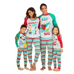The whole family be fa-la-la-fashionable in this Holiday Family Sleepwear Collection. Featuring festive character artwork paired with stripes, these pajamas are sure to make the season extra sweet. Matching Christmas Pajamas, Family Christmas Pajamas, Matching Family Pajamas, Holiday Pajamas, Disney Christmas, Christmas Shopping, Xmas Pjs, Matching Pjs, Christmas Clothes