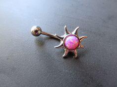 Pink Opal Sun Belly Button Ring Navel Piercing Bar Barbell Bellyring