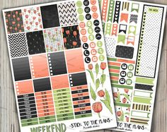 Chalkboard tulips printable planner stickers
