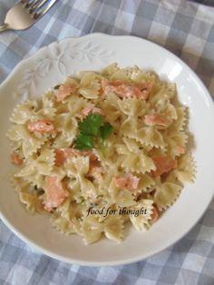 Food for thought: Φαρφάλες με σολομό Pasta Salad, Potato Salad, Macaroni And Cheese, Seafood, Potatoes, Ethnic Recipes, Crab Pasta Salad, Mac Cheese, Mac And Cheese