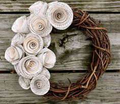 Shabby Chic 12 Wreath by prettyfoldings on Etsy, $35.00 (So making some Rosettes for my grape vine wreaths:)