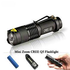 [Visit to Buy] Mini Flashlight Torch  Zoom Led CREE XM-L Q5 2000 Lumens Searchlight Lights Flash Light Lanternas 14500 battery charger OR AA #Advertisement