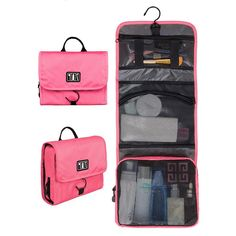 BAGSMART Waterproof Travel Toiletry Bag With Hanger Cosmetic Packing Organizer Wash Bag Makeup Bag Pack Your Luggage Suitcase - Visiocology - Daily Deals Organizing Hair Accessories, Makeup Bag Organization, Travel Accessories, Travel Toiletries, Travel Cosmetic Bags, Wash Bags, Toiletry Bag, Zipper, Purses