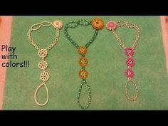 Tutorial. Sunflower, daisy, slave bracelet. Beaded fastening. - YouTube Making Bracelets With Beads, Diy Bracelets Easy, Jewelry Making, Beaded Rings, Beaded Jewelry, Beaded Bracelets, Diy Jewelry Tutorials, Beading Tutorials, Diy Barefoot Sandals