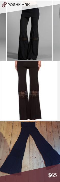 """Nightcap black fold over beach pant-wide leg Nightcap Clothing Foldover Beach Pants in Black are comfortable Boho Chic Style. The pants feature an elasticized waist, slimming foldover waist band, dream-catcher crochet inserts below knee, bell leg and razor cut hem. Inseam measures about 37"""" Size 1 equals a small but can fit 4-8 from looser fit. Fabric: Super Soft Cotton. Nightcap Pants Boot Cut & Flare"""