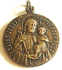 Antique Medal French Saint Joseph Jesus Pendant Mens Ladies (Image1)