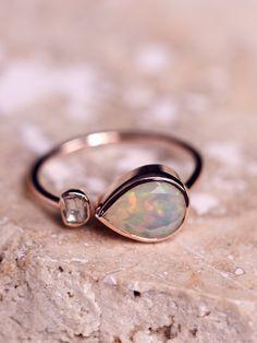 Pascale Monvoisin Opal x Rose Cut Diamond Ring