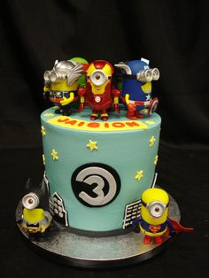 Minion themed birthday cake with a buttercream base and fondant details by Party Flavors Custom Cakes