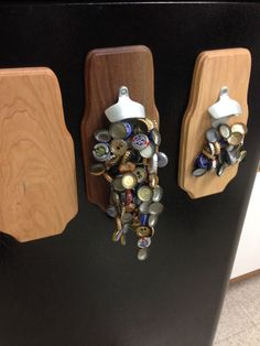 Magnets and beer.what could go wrong? This can be a great little project that will add a restaurant feel to your kitchen or workshop (wherever you prefer to hav. Man Crafts, Glue Crafts, Arts And Crafts, Wood Crafts, Diy Gifts For Men, Cool Gifts, Diy Projects For Men, Fun Projects, Wood Projects