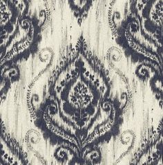 Wallpaper Designer Faux Linen Ikat Damask Blue on Cream With Silver Glitter #Unbranded