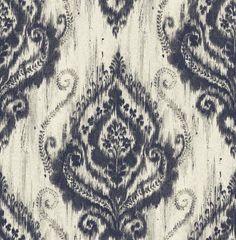 Wallpaper Designer Faux Linen Ikat Damask Blue on Cream With Silver Glitter #Unbranded