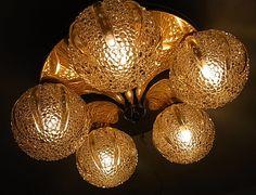 Mid Century 5 Bubble Glass Ball Brass Base Flushmount Orbit Lamp #<