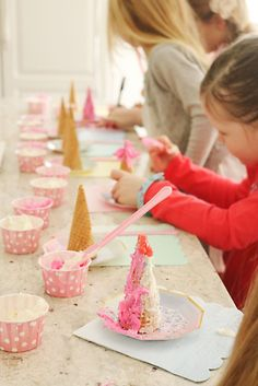 Unicorn Birthday Party activity...ice cream cone, frosting and sprinkles!