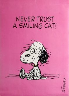 Snoopy Schulz Never Trust A Smiling Cat 1980s - original vintage poster by Charles M Schulz listed on AntikBar.co.uk