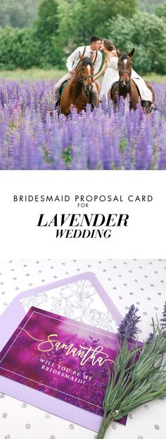 Lavender & Purple bridesmaids invitation cards.